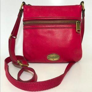 Fossil Explorer Leather Crossbody Bag Ruby Wine